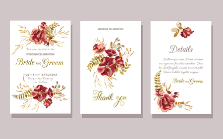 Set of floral wedding invitation with beautiful burgundy rose and gold tropical leaves on white background