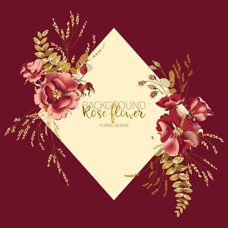 Composition of beautiful red rose and gold tropical leaves with frame for text on burgundy background