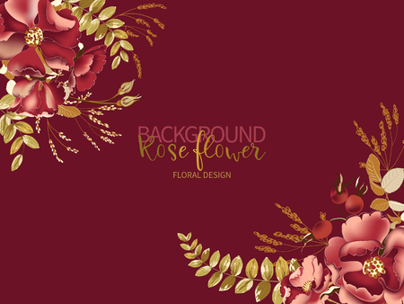 Composition of beautiful red rose and gold tropical leaves on burgundy background