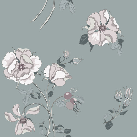 Trendy floral background with beautiful white wild rose with rose hips scattered random on gray. Vector seamless pattern for fashion prints.