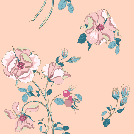 Trendy floral background with beautiful pink wild rose with rose hips scattered random in pastel color. Vector seamless pattern for fashion prints.
