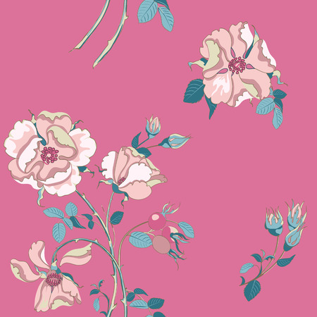 Trendy floral background with beautiful pink wild rose with rose hips scattered random on wild fuchsia colors. Vector seamless pattern for fashion prints.
