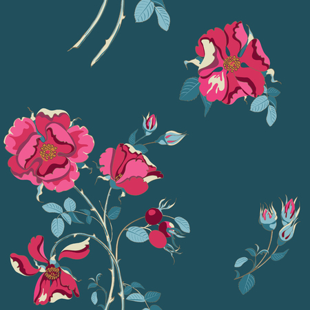 Trendy floral background with beautiful red wild rose with rose hips scattered random on indigo color. Vector seamless pattern for fashion prints.
