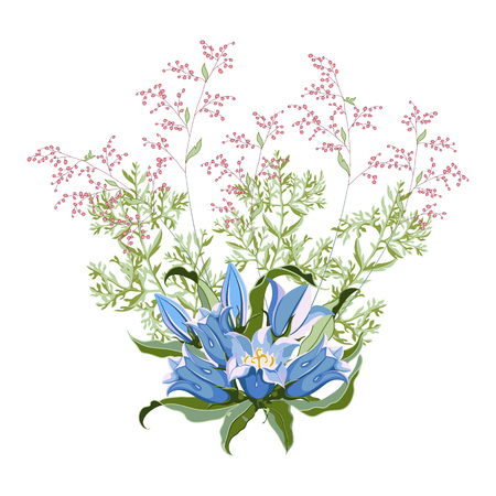 Floral bunch of hand drawn wildflowers bluebell and blooming wormwood, composition for design on white background. Vector illustration Illusztráció