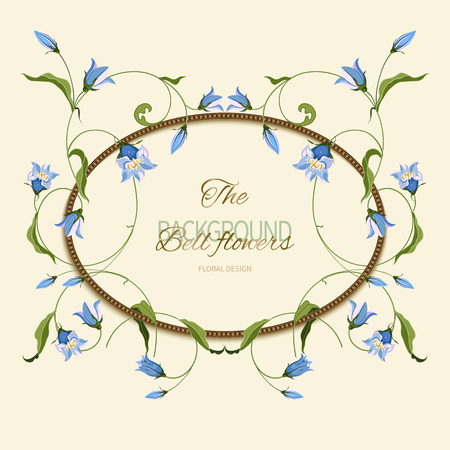 Frame is braided with hand drawn blue bell flower, composition for design. Vector floral background or greeting card