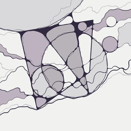 Abstract geometric neuro-graphic drawing.Digital modern canvas artwork