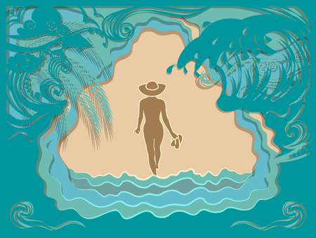 Paper art carving of ocean wave, Dolphin and beach. The girl in the hat walks along the sea sandy beach. Summer vacation background. Vector illustration