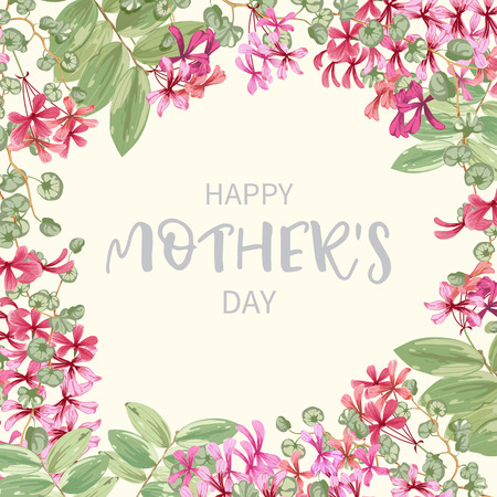 Floral background with border of exotic flowers and tropical leaves isolated on white background.Greeting floral card happy mother's day. Vector illustration.
