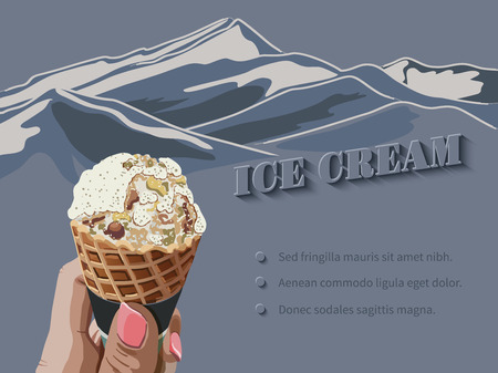 Female hand holding ice cream in waffle cone against the background of a mountain landscape.