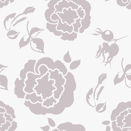 floral background with beautiful roses pastel color, monochrome seamless pattern Illusztráció