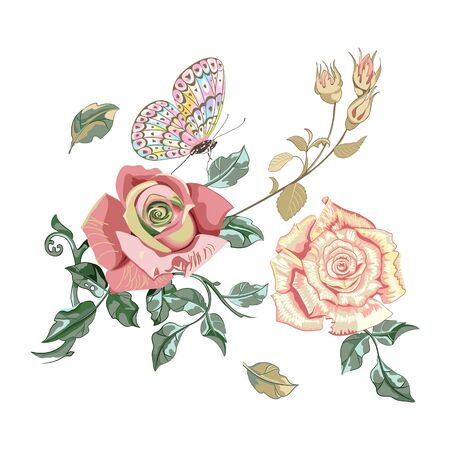 Floral arrangement of beautiful roses flowers and butterfly on white background, close up