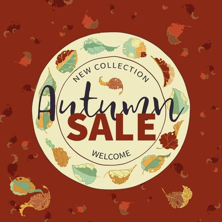 Autumn Sale banner. Flying falling leaves around the circle on red background. Vector illustration.