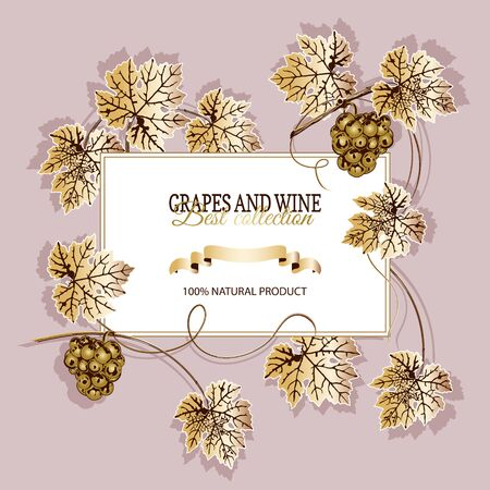 White banner for text, around bunch of golden grapes and leaves, on cream background.