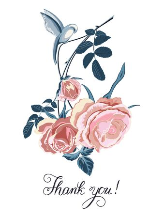 Card with bouquet of pink roses and birdie, lettering-Thank you on white. Vector flower background. Wedding card