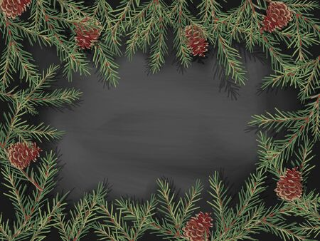 Border of green Christmas tree branches and pine cones on a black background. Ilustracja