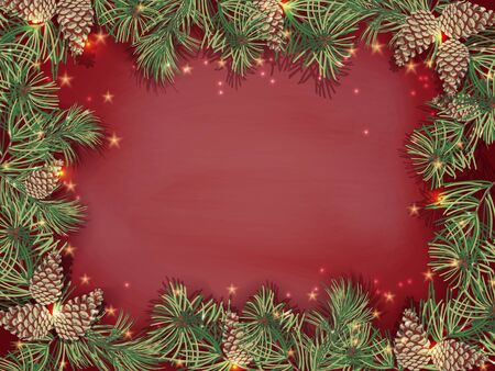 Border of green Christmas tree branches and pine cones on red background.