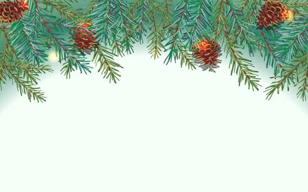 Border of green Christmas tree branches and pine cones on white background. Sparkling holiday lights. Ilustracja