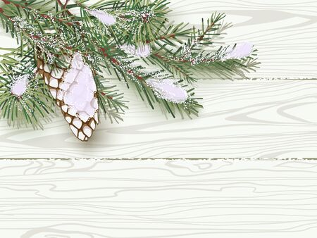 Snow-covered green Christmas tree branch with a cone on background of white wooden boards.