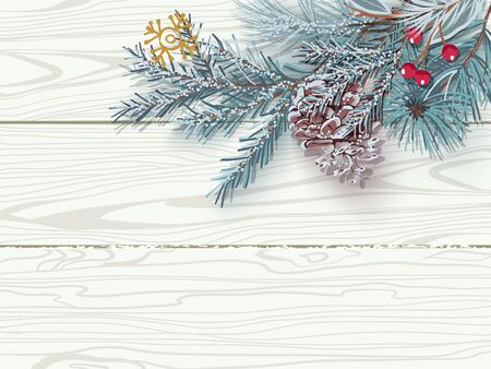 Snow-covered blue Christmas tree branch with a cone on background of white wooden boards.