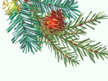 Green Christmas tree branch with pine cone on white background, close-up.