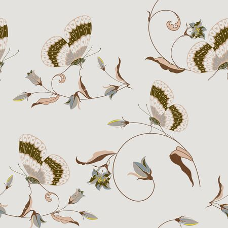 Trendy floral background with beautiful field flower bluebell and butterfly in pastel color. Flower vector seamless pattern for fashion prints. Stock Illustratie