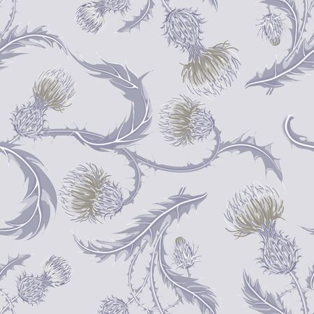 Hand drawn composition of a thistle flower. Seamless pattern with Milk Thistle on background of pastel colors. Illusztráció