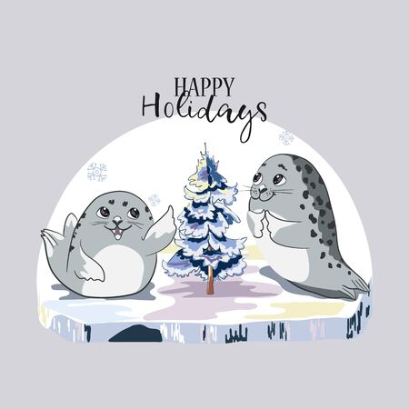 Two cartoon baby Seal on an ice floe and the blue fir-tree.