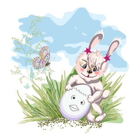 Hand drawn cute Bunny with easter egg, print design rabbit on a green glade and butterfly.