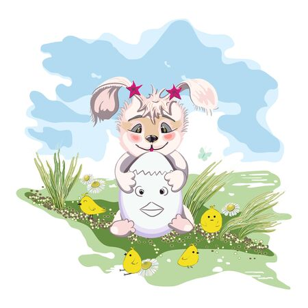 Hand drawn cute Bunny with easter egg, print design rabbit on a green glade and chickens. 向量圖像