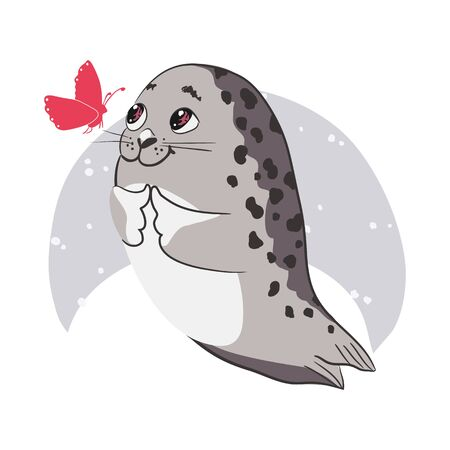 Cute cartoon baby Seal, Harp Seal Pup. Graphic print for t-shirt. Vector illustration Фото со стока - 142812904