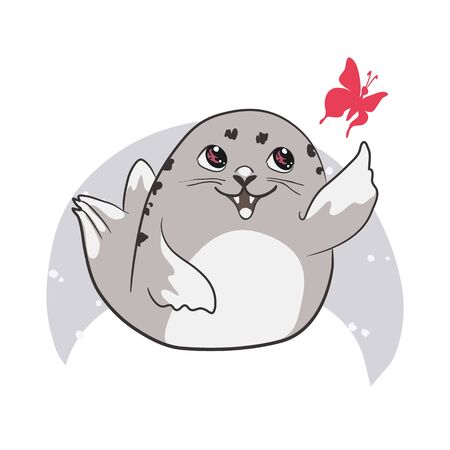 Cute cartoon baby Seal, Harp Seal Pup. Graphic print for t-shirt. Vector illustration Иллюстрация