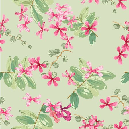 floral background with small red flowers and twigs with leaves Фото со стока - 142040771