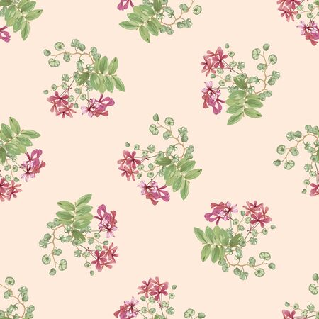 floral background with small red flowers and twigs with leaves Фото со стока - 142040776