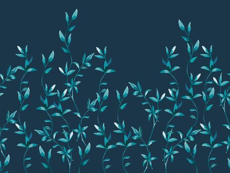 Border with twigs and leaves in hand drawn style on dark blue. Фото со стока - 142040774