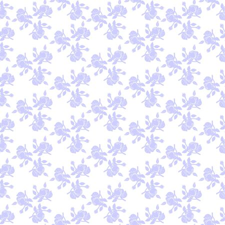 Monochrome seamless pattern of floral ornament of roses on white background Фото со стока - 142040778