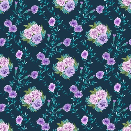 Trendy floral background with wild flowers and twigs with leaves in hand drawn style on dark blue.