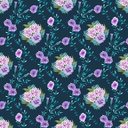 Trendiger Blumenhintergrund mit wilden Blumen und Zweigen mit Blättern im handgezeichneten Stil auf dunkelblau.