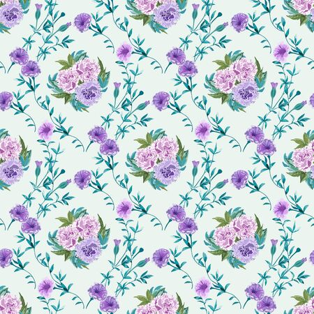 Trendy floral background with wild flowers and twigs with leaves Фото со стока - 142040780
