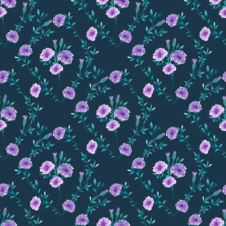 Trendy floral background with wild flowers and twigs with leaves in hand drawn style on dark blue. Фото со стока - 142040783