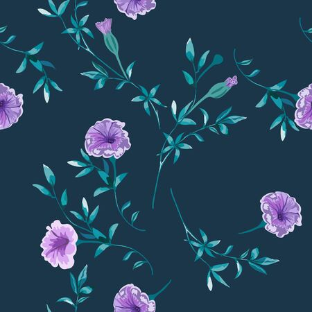 Trendy floral background with wild flowers and twigs with leaves in hand drawn style on dark blue. Фото со стока - 142040782