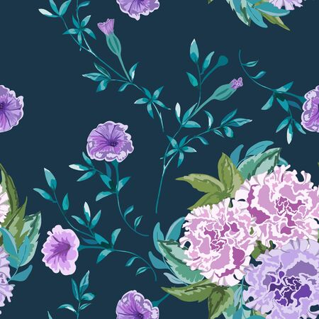 Trendy floral background with wild flowers and twigs with leaves in hand drawn style on dark blue. Иллюстрация