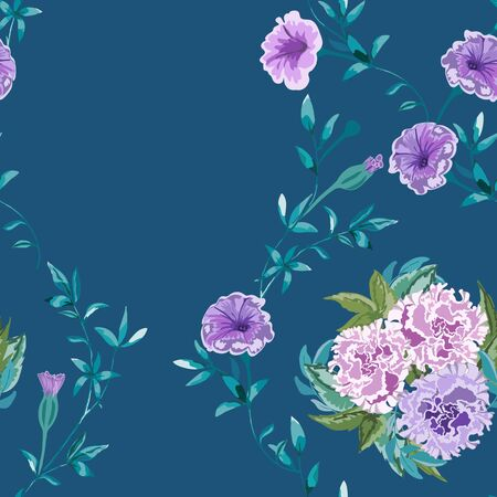 Trendy floral background with wild flowers and twigs with leaves in hand drawn style on blue.