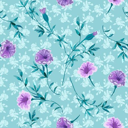 Trendy floral background with wild flowers and twigs with leaves in hand drawn style on light blue. Фото со стока - 142040786