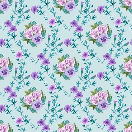 Trendy floral background with wild flowers and twigs with leaves in hand drawn style on light blue Иллюстрация