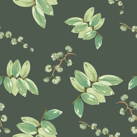 Trendy tropical background with green exotic leaves in style watercolor on dark.Botanical motifs scattered random. Vector seamless pattern for fashion prints.