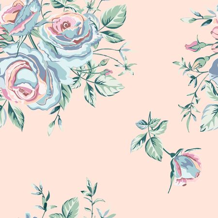 Trendy floral background with flowers beautiful roses in pastel colours on pink. Blooming botanical motifs scattered random. Vector seamless pattern for fashion prints. Фото со стока - 142041019
