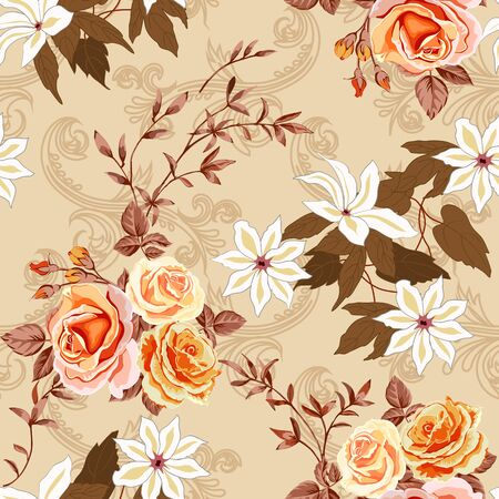 Trendy floral background with yellow and orange roses, white lilies in hand drawn style on beige. Фото со стока - 142041020