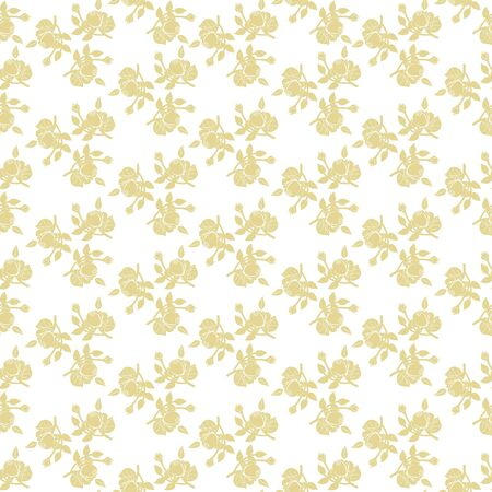 Monochrome seamless pattern of floral ornament of roses on white background Фото со стока - 142041024