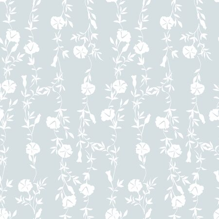 Trendy floral background with wild flowers and leaves in hand drawn style on light blue.