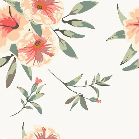 Trendy floral background with flowers petunia and leaves in hand drawn style on white. Фото со стока - 142041027